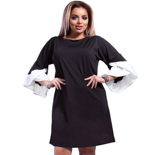 New Women Plus Size Loose Dress Solid Flare Meias mangas em camadas Elegant Mini Dresses