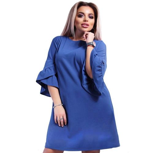 New Women Plus Size Loose Dress Solid Flare Meias mangas em camadas Elegant Mini Dresses