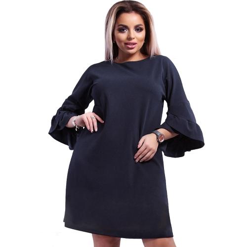 Vestido sin mangas de las nuevas mujeres más el tamaño Sólido Flare medias capas de vestidos elegantes mini vestidos