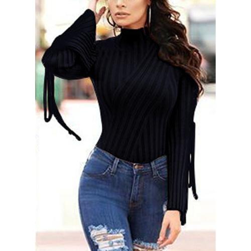 Женщины Sexy Bodysuit High Neck Crisscross Bandage Flare Sleeve Твердые колготки Bodycon Комбинезон Rompers Black / White / Khaki