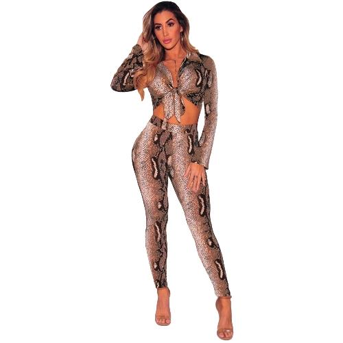 Conjunto de dos piezas de mujer sexy con estampado de serpiente Top corto con cuello en V profundo y manga larga con pantalón largo Slim Bodycon Trajes de color caqui