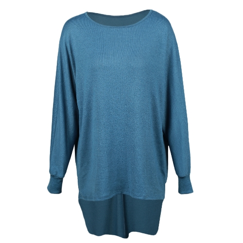 Moda Donna T-shirt Tops Big Size tondo collare Dip Hem Casual Taglie forti Blu / Verde