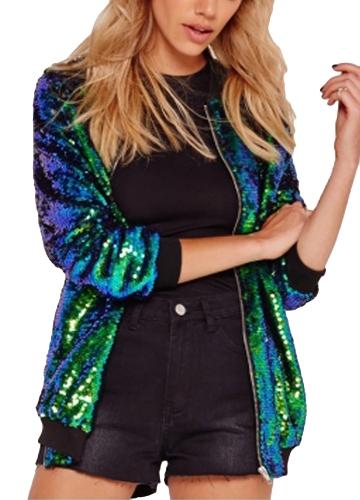 Moda Donna Paillettes Cappotto Giacca bomber a maniche lunghe con cerniera Streetwear Casual Loose Glitter Capispalla Verde