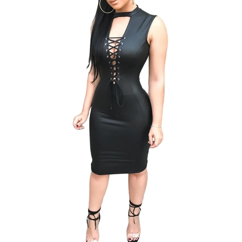 Sexy Women PU Leather Dress Cross Lace Up Sleeveless O-Neck Back Zipper Clubwear Party Dress Black