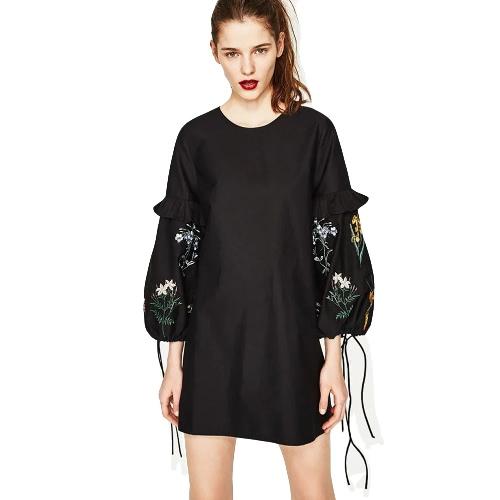 New Vintage Frauen Blumenstickerei Minikleid O Neck Lace Up Langarm-Rüschen Party Dress Black