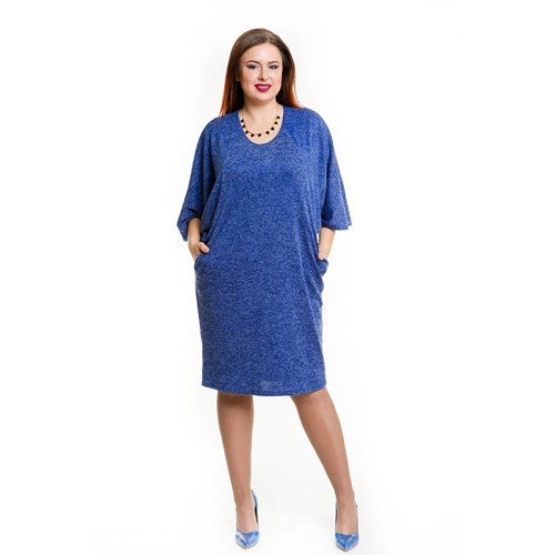 Vestido de verano de las mujeres del tamaño extra grande Vestido de bolsillo sin mangas ocasional del cuello O Vestido de gran tamaño de la elegancia Azul / Borgoña