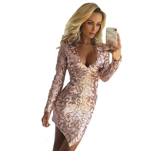 Frauen Paillettenkleid Tiefem V-Ausschnitt Asymmetrische Saum Langarm Bodycon Casual Party Kleid Silber / Pink