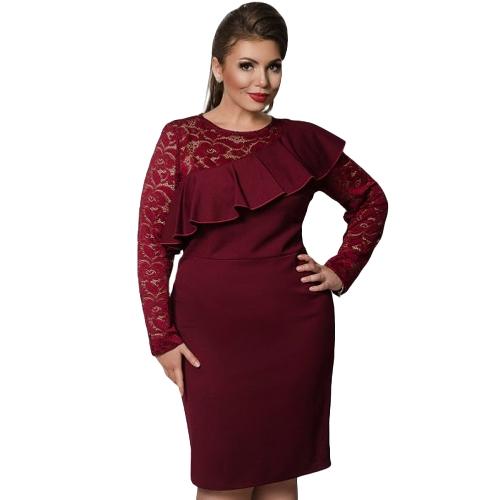 Vestido de las mujeres más el tamaño del cordón del o-cuello del lápiz del vestido del partido de las señoras de la volante Bodycon Slim Midi Club Vestidos