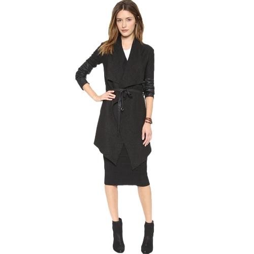 Otoño Invierno Mujeres Chaqueta Escudo de Solapa Grande de Cuero de LA PU Empalme Abrigo de Manga Larga prendas de Vestir Exteriores Ocasionales Negro
