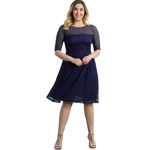 Frauen Plus Size Kleid Dot Semi-transparente Netz Splice Rüsche Elegantes A-Line Party Swing Kleid Dunkelblau / Rot