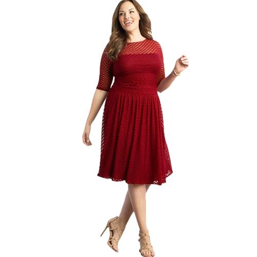 Vestido de las mujeres más tamaño Dot Semi-sheer malla empalme volante Elegante A-Line vestido de partido oscilación azul oscuro / rojo