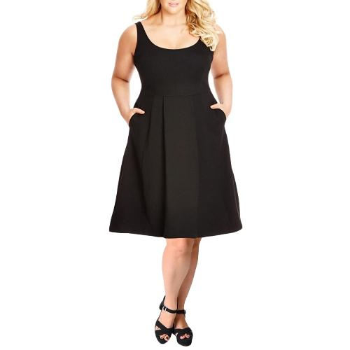 Vestido de tanque tamanho feminino Vestido de balanço sólido A-Line Casual Vestido de duelo preto / Borgonha