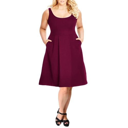 Vestido sin mangas para mujer Vestido sin mangas con cuello en V Vestido a media pierna sin mangas Negro / Borgoña