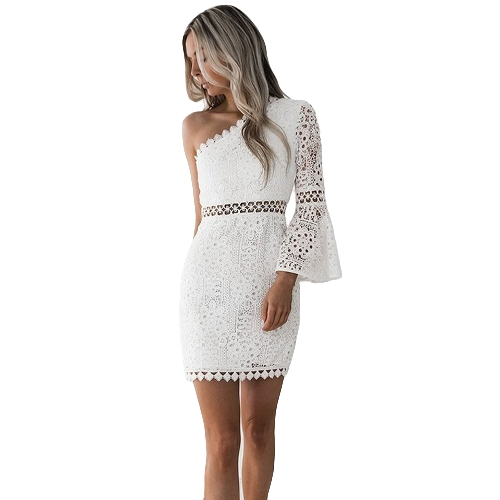 New Sexy Women Lace Dress One Shoulder Flare Sleeve Aqueça Clubwear Party Dress White