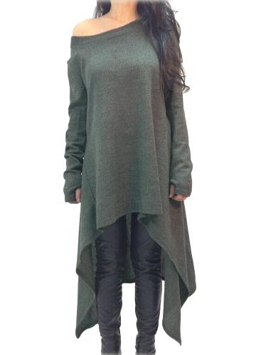 Vestido de mujer Color sólido Un hombro Alto Bajo Dobladillo asimétrico Manga larga Suelta de una pieza