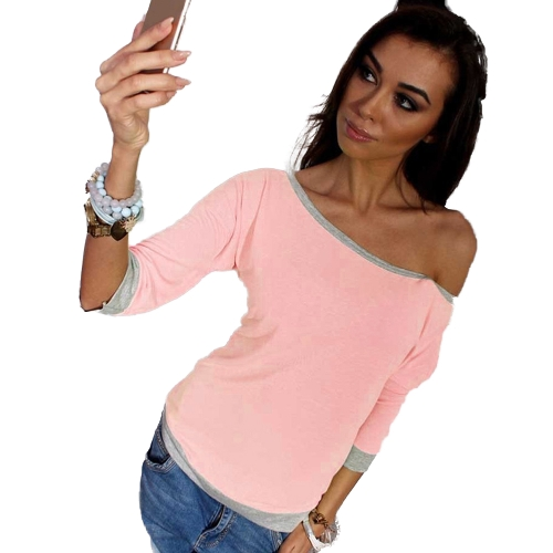Camiseta de mujer One Shoulder Off Shoulder Contraste Color 3/4 Sleeve Loose Plus Size Tops casuales