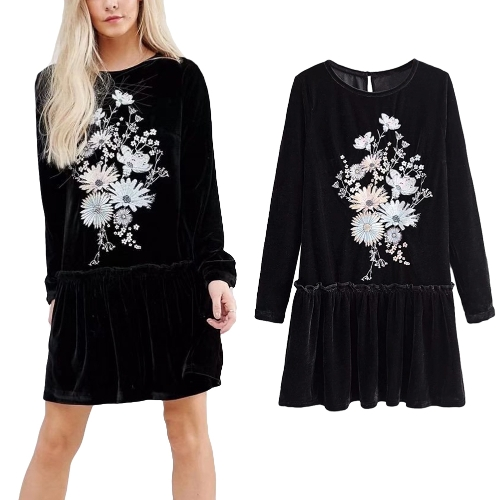 Women Velvet Mini Dress Floral Bordado manga comprida Ruffled Pleated Loose Short Dress Black