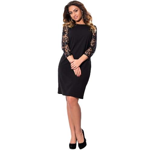 Damska sukienka w rozmiarze plus size Koronkowe rękawy w kształcie trójkąta Mini Big Size Elegant Office Partywear
