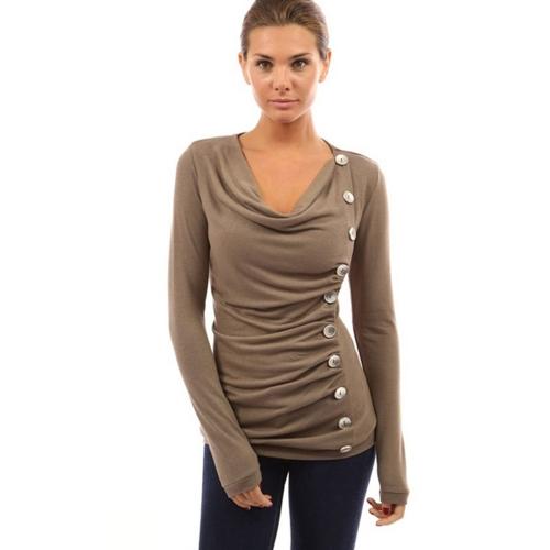 新しいファッション女性スリムシングルブレスト基本的なTシャツロングスリーブ秋純粋なカラーコットンのトップス
