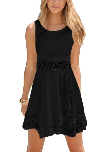 New Sexy Women Lace Mini Dress Sem mangas Hollow Out Solid Color Slim Elegante Vestido Bege / Black
