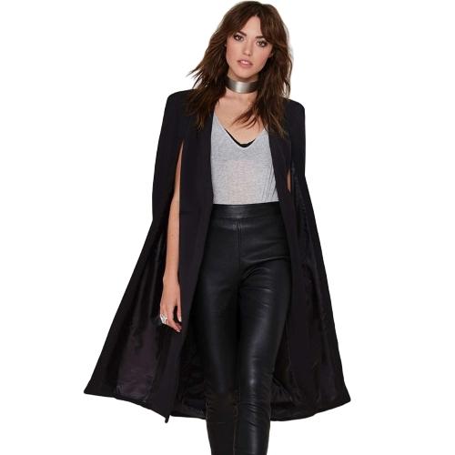Jesień Kobiety Długi Płaszcz Marynarka Płaszcz Cape Cardigan Kurtka Slim Office OL Kombinezon Casual Solidna odzież wierzchnia