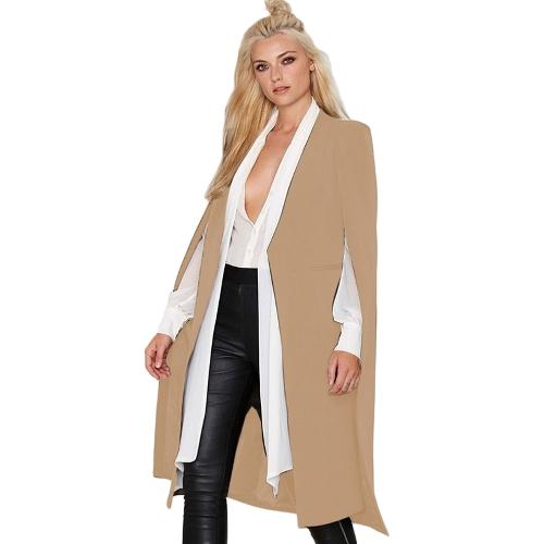 Mujeres del otoño Capa larga Blazer Coat Cape Cardigan Chaqueta Slim Office OL Traje Casual prendas de abrigo sólido
