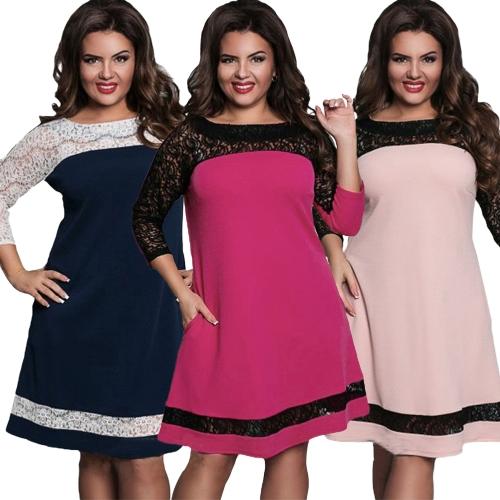 Frauen Plus Size Kleid Semi-transparente Spitze Mesh Splice Kontrastfarbe Elegant A-Line Party Swing Kleid Dunkelblau / Pink / Rose
