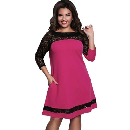 Vestido de las mujeres más tamaño Semi-sheer malla de encaje Empalme color contraste Elegante vestido de partido una línea azul oscuro / rosa / rosa