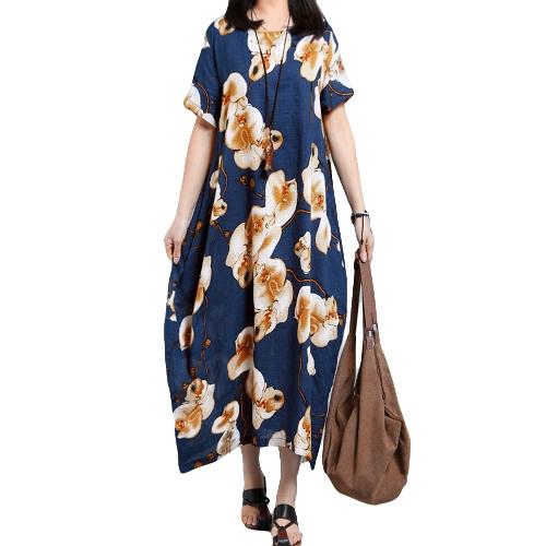 Verão Mulheres Tamanho Plus Casual Floral Print Loose Dress Manga curta Round Neck Bolsos Oversize Long Dress Kaftan