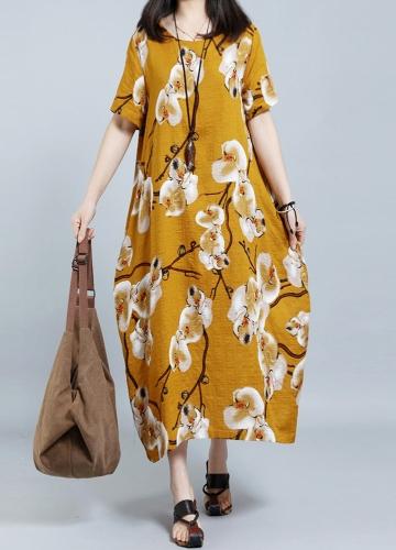 Summer Women Plus Size Casual Floral Print Loose Dress Short Sleeve Round Neck Pockets Oversize Long Dress Kaftan