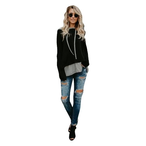 Sudadera con capucha rayas mujer Sudadera con capucha casual manga larga Sudadera con capucha jersey con cordones Top negro