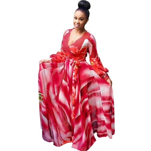 Vestido maxi de mujer sexy color degradado Floral con cuello en V manga larga vestido largo de oscilación delgado azul / rojo