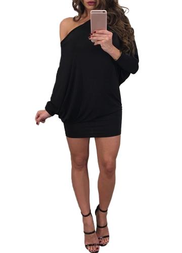 Mulheres Off the Shoulder Dress One Shoulder Batwing Sleeves Slash Neck Mini Evening Party Dress