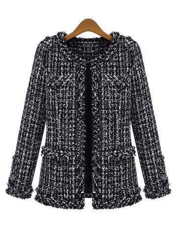 Chaqueta de tweed de mujer Plaid Frayed sin cuello de manga larga Slim elegante Outlet de otoño de invierno negro