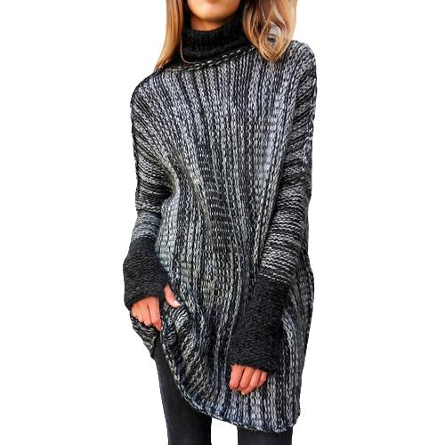 Nowa zimowa wiosna kobiet ponadgabarytowych sweter z dzianiny skręcić w dół kołnierz z długim rękawem swetry dzianin
