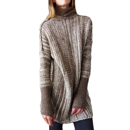 Nuevo invierno primavera mujer de gran tamaño costilla jersey suéter Turn-down cuello manga larga jersey prendas de punto