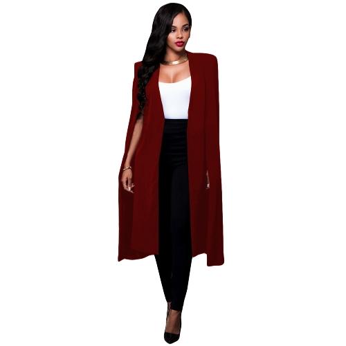Capa larga de las mujeres Capa chaqueta del chaleco Chaqueta de punto de división Chaqueta delgada Oficina OL Traje Ropa de abrigo sólida ocasional