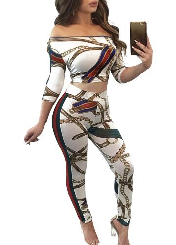 Pantalón corto de mujer de dos piezas con estampado floral fuera del hombro con estampado geométrico