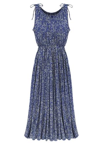 Mode-Frauen-Blumendruck-Kleid-Bindungs-Schulter-Sleeveless gefaltetes böhmisches Strand-dünnes Behälter-Maxi Kleid blau