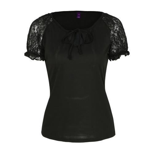 Fashion Women Floral Lace Sleeve T-Shirt Self Tie Hollow Out Short Sleeve Casual Solid Basic T-Shirt Tee Tops
