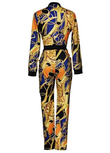 Сексуальный женский комбинезон Контраст Colorblock Chain Print Молния с длинным рукавом Bodycon Night Clubwear Yellow