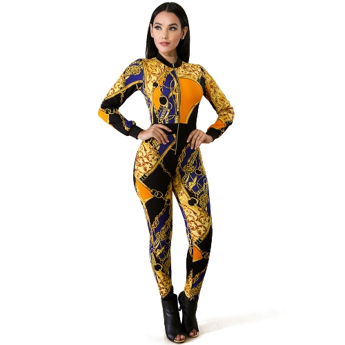 Sexy Women Jumpsuit Contraste Colorblock Chain Print Zipper Long Sleeve Bodycon Night Clubwear Amarelo