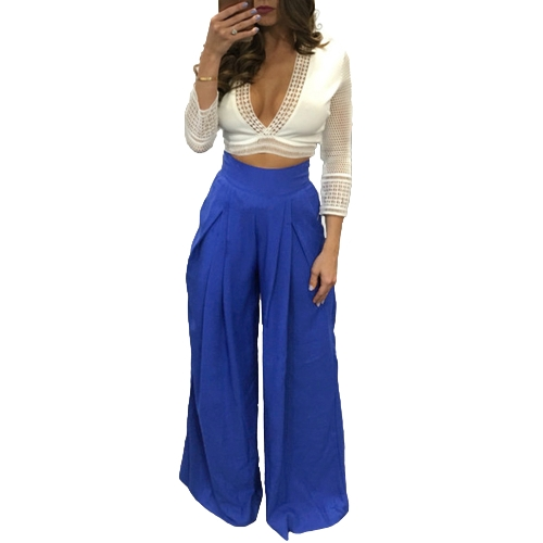 Spodnie damskie Solid Color High Waist Wide Loose Legs Kieszenie Casual Palazzo Baggy Clubwear Trousers