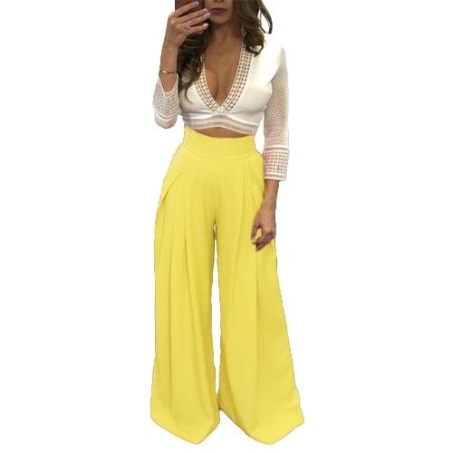 Pantalones de mujer de color sólido de cintura alta, amplios bolsillos de piernas sueltas Casual Palazzo Baggy Clubwear pantalones