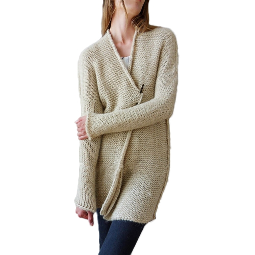 Frauen Strickjacke Mantel Open Front Long Sleeves Dropped Schulter Lose Outwear