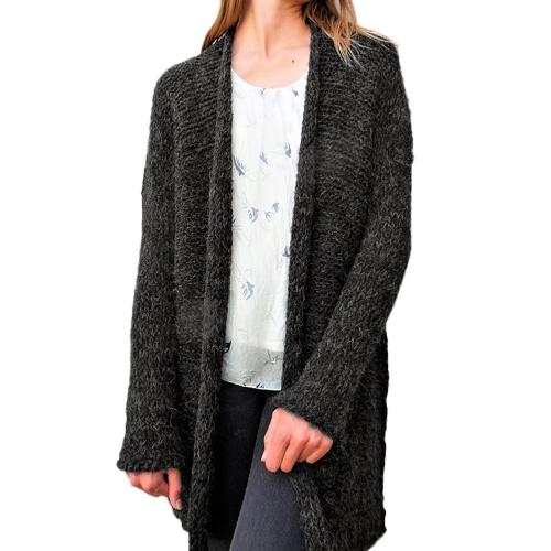Abrigo de rebeca de punto de mujer Abrigo abierto de manga larga Falda suelta de hombro