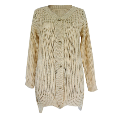 Sexy Women Knitting Sweater Dress Deep V-Neck Distressed Buttons Solid Loose Casual Party Mini Dress Beige