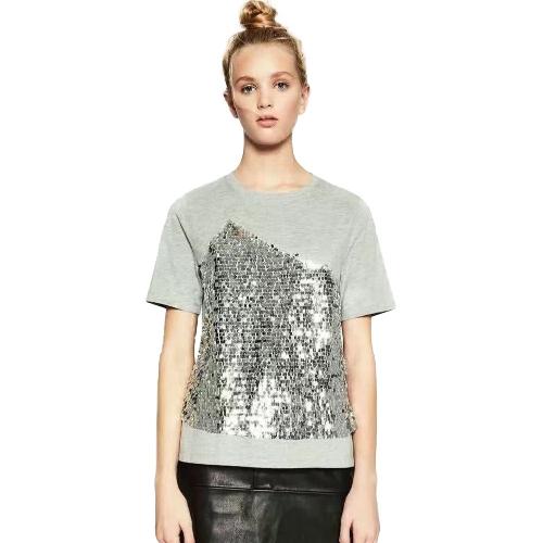 Moda mujer lentejuelas Sparkles manga corta camiseta O cuello Bling Glitters Casual camiseta básica Tops gris