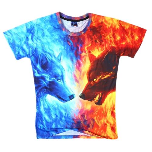 Fashion Summer Loose 3D Short Sleeve T-shirt Vivid Printing para homens e mulheres