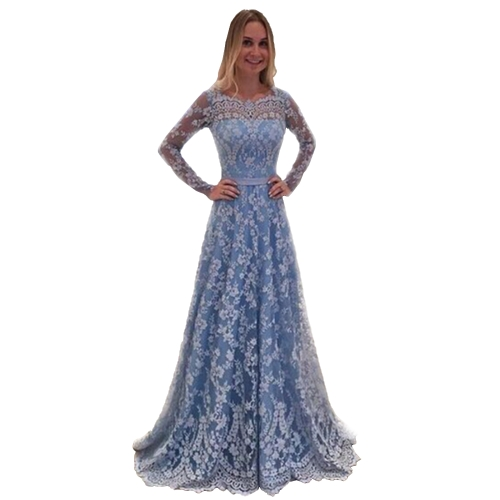 Vestido de noiva novo e elegante Mulheres Moda Lace Long Sleeved V-neck Sexy Backless Vestidos Lace Prom Maxi Party Dresses